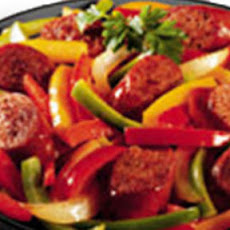 Italian sausage w/ peppers and mixed vegetables