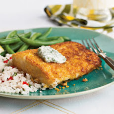 Cornflake-Crusted Halibut with Chile-Cilantro Aioli