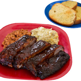 BBQ Dinner anyone ? by Craig Collins - Food & Drink Meats & Cheeses ( dinner, red, beans, bake, plate, potato, bbq, baked )