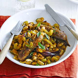 Venison Sausages With Piquant Beans