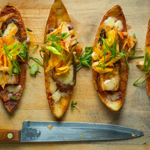Potato Skins with Pork Belly and Kimchi