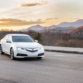 TLX at Sunset by R Jay Prusik - Transportation Automobiles ( mountains, sky, sunset, acura, tlx,  )