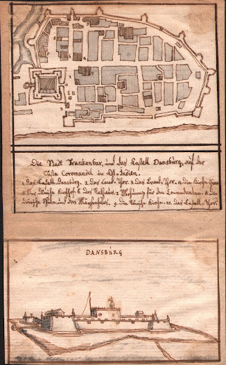 "Anonymous. <b>Tharangambadi, Tamil Nadu</b> Early to mid-18th Century Manuscript, pen and ink with wash, total: 17.4 x 10.7 cm; map: 9.8 x 10.0 cm; view: 5.8 x 10.2 cm.  A beautifully rendered miniature watercolour map of Tranquebar, accompanied by a view of the Castle of Dansborg.  This fine pairing features an original manuscript street plan of the Danish town of Tranquebar, on the Coromandel Coast.   The attractive view, ""Dansburg"" (the Castle of Dansborg) offers a profile perspective of this fascinating and unique edifice, built in 1620, on the orders of Admiral Gedde.  The castle served as the residence of the Danish Governor, and is an extraordinary mixture of Danish and Indian architecture styles.  Dansborg survives to this day, where it serves as a museum.   The watercolours were executed by an anonymous German hand, quite likely a member of the Danish-Halle mission."