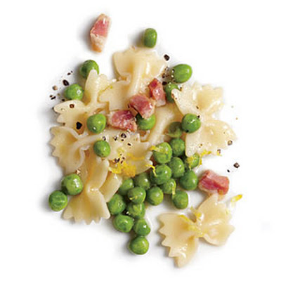 Pea, Pancetta, and Lemon Farfalle