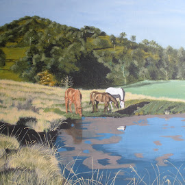 Afternoon by the Dam by Marilyn Brown - Painting All Painting ( hills, horses, dam, painting )
