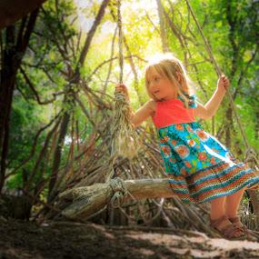 Sun swing by Jarrod Kudzia - Babies & Children Child Portraits ( girl, dress, forest, swing, woods, sun, KidsOfSummer )