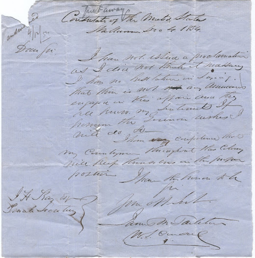 "This exchange of letters dating from early December 1854 discuss the possibility of whether Americans were involved at the Stockade. <a href=""http://wiki.prov.vic.gov.au/index.php/Eureka_Stockade:Letter_from_US_Consul;_he_believes_no_Americans_are_involved"">Click here to see more of this record on our wiki</a>"