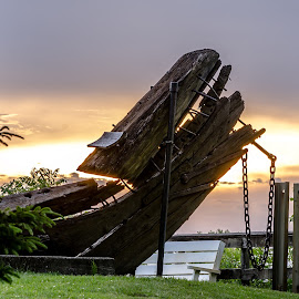 A piece of wreckage  by Calvin Morgan - Buildings & Architecture Statues & Monuments ( history, whitelake, whiteriver lighthouse, sunset, nikon d7000 )