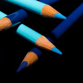 Blue Color Pencils by Susan Farris - Artistic Objects Education Objects ( light-blue, school, colors, art, drawing, pencils, dark-blue )