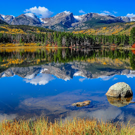 Autumn Mirror at Sprague Lake in Rocky Mountain National Park by Jennifer McWhirt - Landscapes Mountains & Hills ( mirror, spraguelake, mountains, photographybyjenmcwhirt, colorado, rockies, rmnp, aspens, fall, color, colorful, nature )