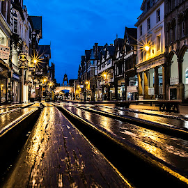 Golden Citylights by Marek Saj - City,  Street & Park  Street Scenes ( seat, chester, street, gold, golden, city, , Urban, City, Lifestyle )