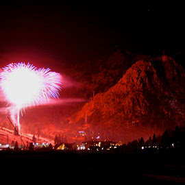 Olympic Valley fireworks by Jp Bergeron - Abstract Fire & Fireworks ( squaw, fireworks, night, high camp, olympic valley )