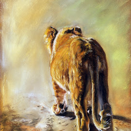 Behind Sight is a Wonderful Thing by Karen Phillips - Drawing All Drawing ( pastel, wildlife, africa, lion cub, animal )