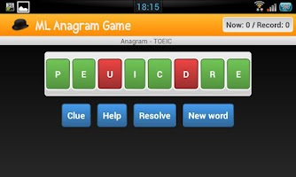 Screenshot of English Anagram GAME