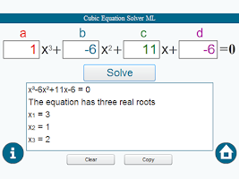 Screenshot of Cubic Equation Solver