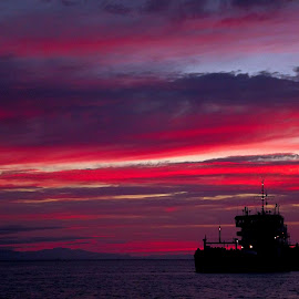 Dredge at Work by Art Straw - Landscapes Sunsets & Sunrises ( marine, sunset, ship, pink, boat )
