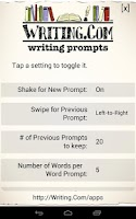 Screenshot of Writing Prompts