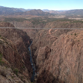 Royal Gorge Bridge & Arkansas River below by Rick Grybos - Buildings & Architecture Bridges & Suspended Structures