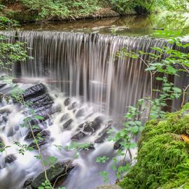 Skipton Falls by Neil Torr - Nature Up Close Water ( water, skipton, yorkshire, waterfall, long exposure, castle, skipton woods, woods )
