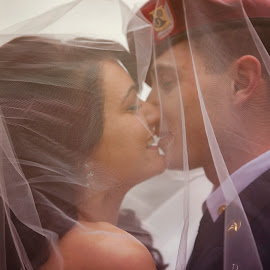 First Kiss as Mr&Mrs by Chelsea Eigel - Wedding Bride & Groom ( kiss, wedding, veil, wedding kiss )