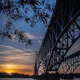 Grand Island Bridge Sunset by John Witt - Buildings & Architecture Bridges & Suspended Structures ( sunset, niagara, bridge, river, Urban, City, Lifestyle )