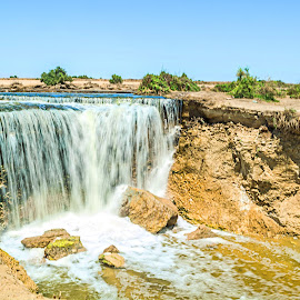Water Falls  by Mohamed Yasser - Nature Up Close Water ( water, sand, blue sky, nature, green, waterfall, rocks )