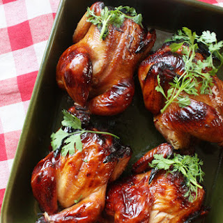 Smoked Soy-Honey-Rum Cornish Game Hens