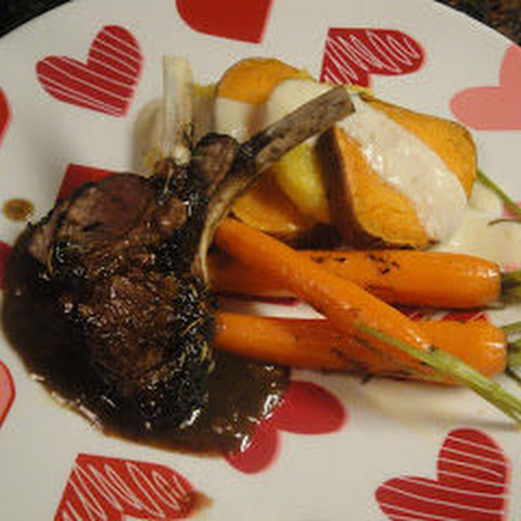 Spicy Dark Chocolate Roasted Rack of Lamb with Apple-Brandy Sauce