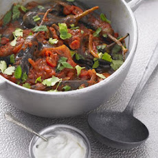 Spicy Baby Aubergine Stew With Coriander & Mint