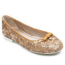 Dolce & Gabbana Gold Sequin Slip On BALLERINA