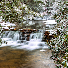 Yay!! First day of spring--------and more snow :( by Dave Martin - Landscapes Weather ( waterfalls, spring snow waterfalls, water fall,  )