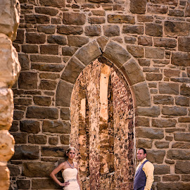 Arch Ruins Connecting the Bride and Groom by Nick Schale - Wedding Bride & Groom ( nickschale.com, nick, schale, st. aloysius church historic site, aloysius, historic, photography )