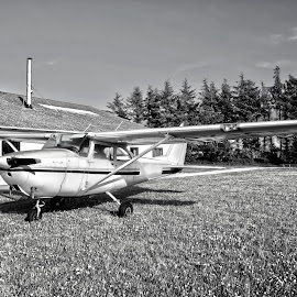 small airplane by Poul Erik Vistoft Nielsen - Transportation Airplanes ( clouds, sony a77, plane, black and white, airplane, prop )