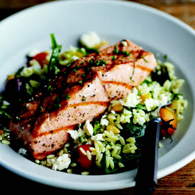 Grilled Salmon with Orzo, Feta, and Red Wine Vinaigrette