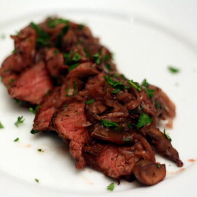 Hanger Steak with Shallots and Mushrooms