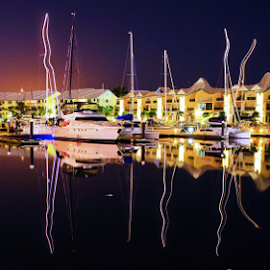 Raby Bay - ALTERED  by Linda Taylor - Abstract Light Painting ( abstract, reflection, queensland, waterscape, australia, boats, brisbane, landscape, raby bay, nightscape,  )