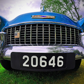 Big Mouth by Marco Bertamé - Transportation Automobiles ( car, chevrolet, blue, crhome, vintage, american, flood light, bumper, oldtimer, luxembourg )