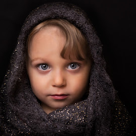 Nela by Karel Štěpánek - Babies & Children Child Portraits ( child, blonde, girl, beautifull, beautiful, background, blond, blue eyes, little, beauty, scarf )