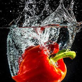 Splash by Troy Wheatley - Food & Drink Fruits & Vegetables ( water, red pepper, splash, pepper, vegetable )