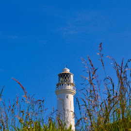 Flamborough Lighthouse by Ian Jukes - Buildings & Architecture Other Exteriors ( cliff, lighthouse, sea, view, rocks )