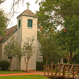 Cajun Church with a pond by Ron Olivier - Buildings & Architecture Places of Worship ( cajun church with a pond )