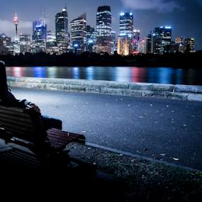 Thinking chair by Adam Scarf - City,  Street & Park  Night ( eerie, chair, scape, dark, city, Free, Freedom, Inspire, Inspiring, Inspirational, Places, People, Emotion )