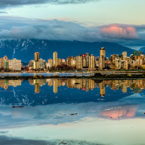 Vancouver City Skyline Reflection by James Wheeler - City,  Street & Park  Vistas ( nobody, skyline, skyscrapers, architecture, cityscape, travel, city, march, james wheeler, sky, buildings, 2011, inlet, british columbia, canada, kitsilano, pacific, tourism, dusk, urban scene, trees, scene, view, built structure, downtown vancouver reflection, waterfront, waterway, reflection, pictures, ocean, coastline, landscape, apartments, vancouver, photography, modern, mountains, skyscraper, nikon, downtown, water, clouds, hdr, scenics, d5000, sea, scenic, high dynamic range, photo, urban, geotagged, landscapes )