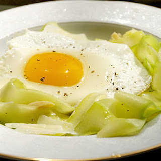 "Zucchini Ribbon ""Pasta"" with Fried Egg and Pecorino"