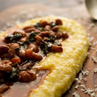 Anson Mills Polenta or Grits With Beans and Chard