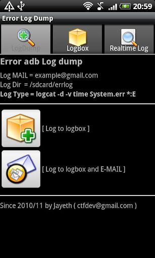 Error adb logcat log dump
