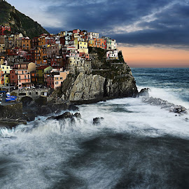 Light over the sea by Alessandra Piasecka-Photography - City,  Street & Park  Vistas ( cinque terre, sunset, sea, manarola, storm, italy, colours )