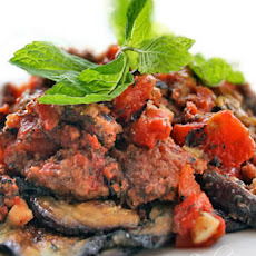 Italian Eggplant Recipe with Crumbled Beef, Tomatoes and Mint