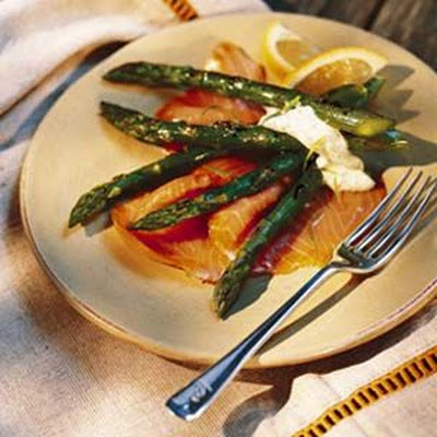 Grilled Asparagus with Smoked Salmon and Tarragon Mayonnaise