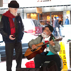 Plying his trade for donations by Robert Briggs - People Street & Candids ( seattle, street musician, musician, pike place parket, guitar player )